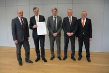 Der Vorstand der Bayerischen Versorgungskammer: (v.l.) Ulrich Böger,  Daniel Just, Reinhard Graf, André Heimrich, Reinhard Dehlinger