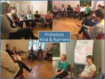 """Entspannte Runde: Die Teilnehmerinnen und Teilnehmer unseres Frühstücks zum Thema """"Kind und Karriere"""""""
